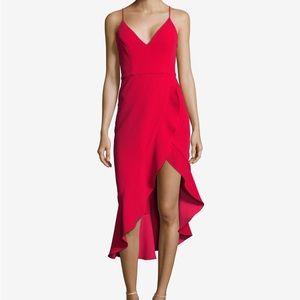 Xscape Ruffled Asymmetrical Dress - Red